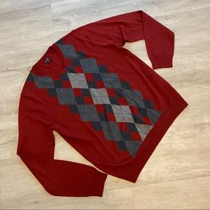 Merino Wool Acrylic Blend maroon Argyle Sweater M